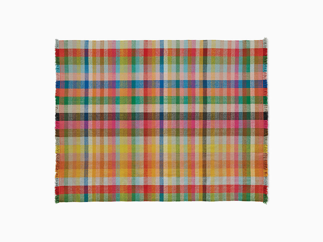 An image of a rainbow colored basketwoven wool Multitone Maharam Rug on a white background.
