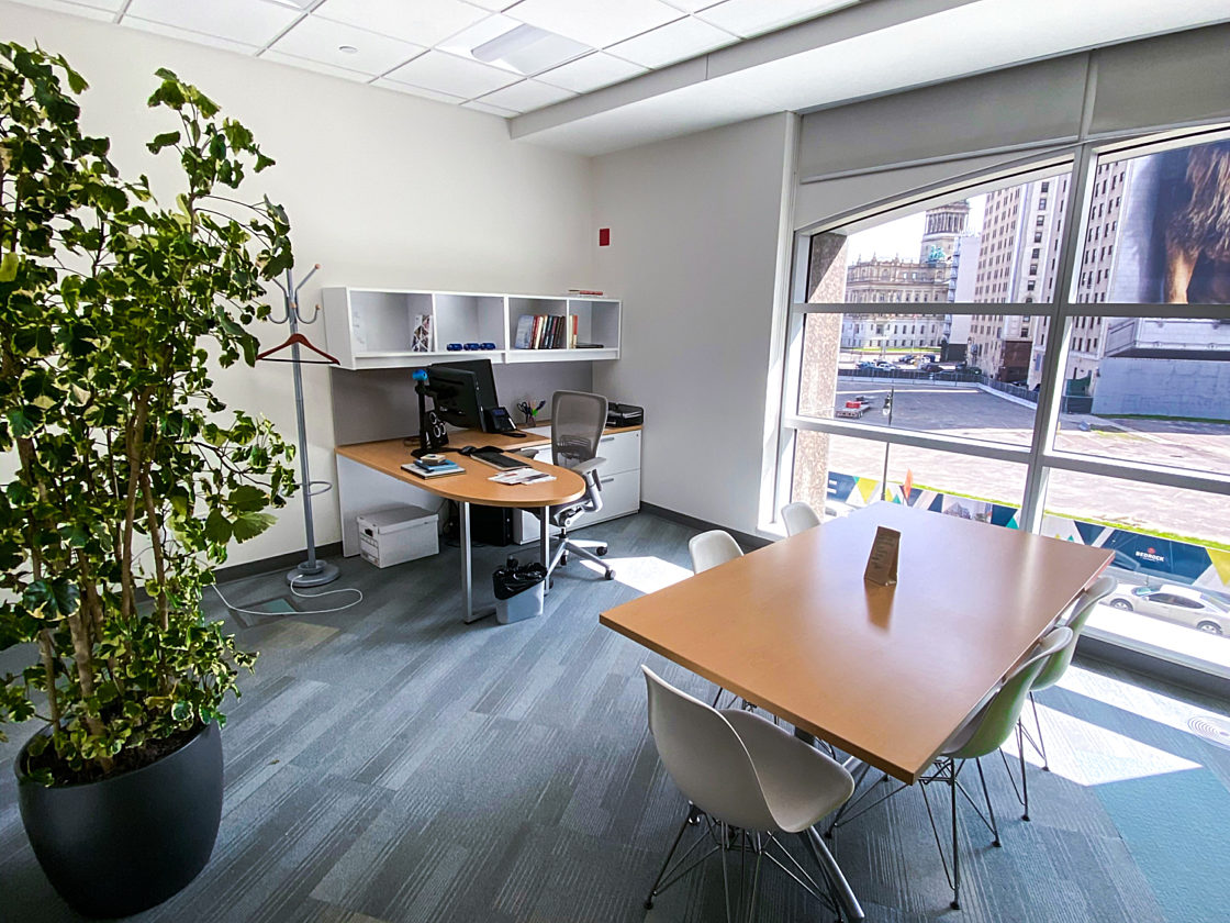 An image of an office with a L-shaped desk with a task chair and a rectangular table with 5 Eames shell chairs and a large plant.