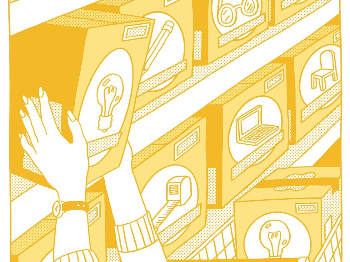 An illustration of hands reaching a box in a store with a light bulb on the front next to a shopping cart already filled with boxes.