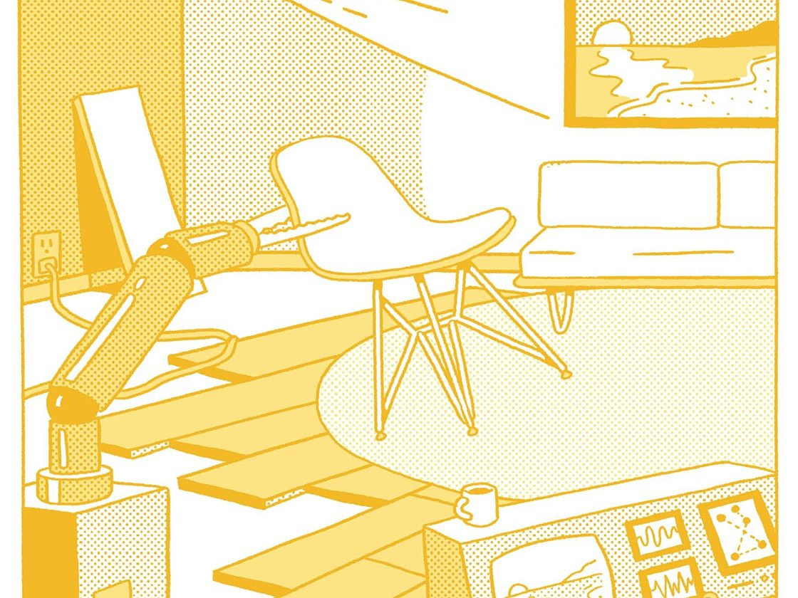 A cartoon of a robot arm holding an Eames Plastic Chair under a projector projecting an image of a sunset.