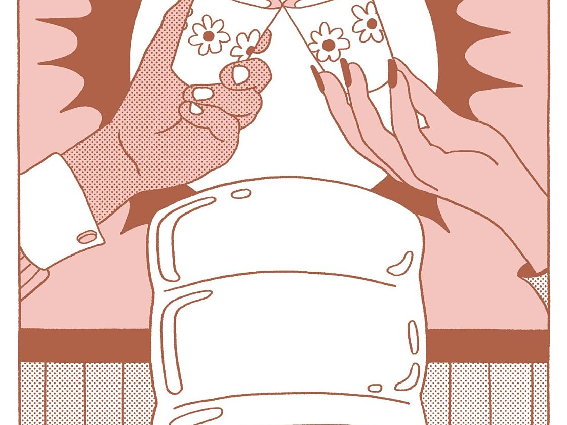 An illustration of two hands using cups to toast at a water cooler.