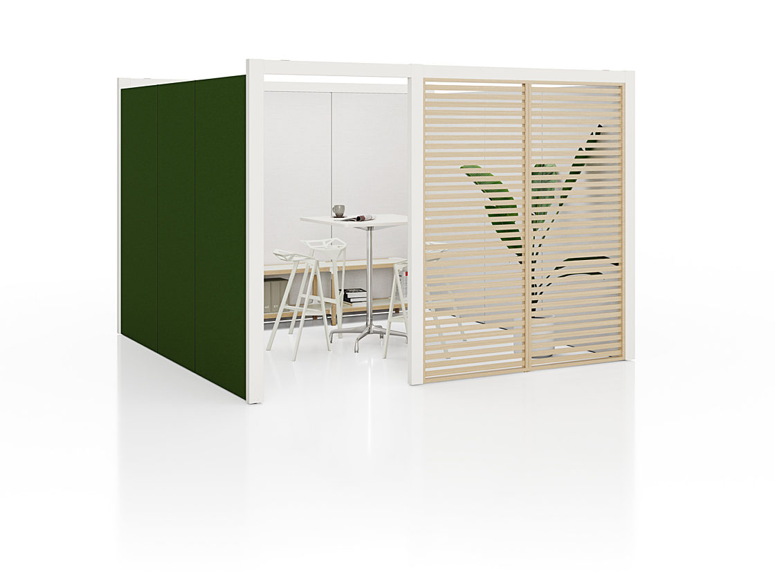 A 4-sided Overlay Meeting Space with green fabric exterior walls, a door, one slatted wood wall, and an interior lined with whiteboards.