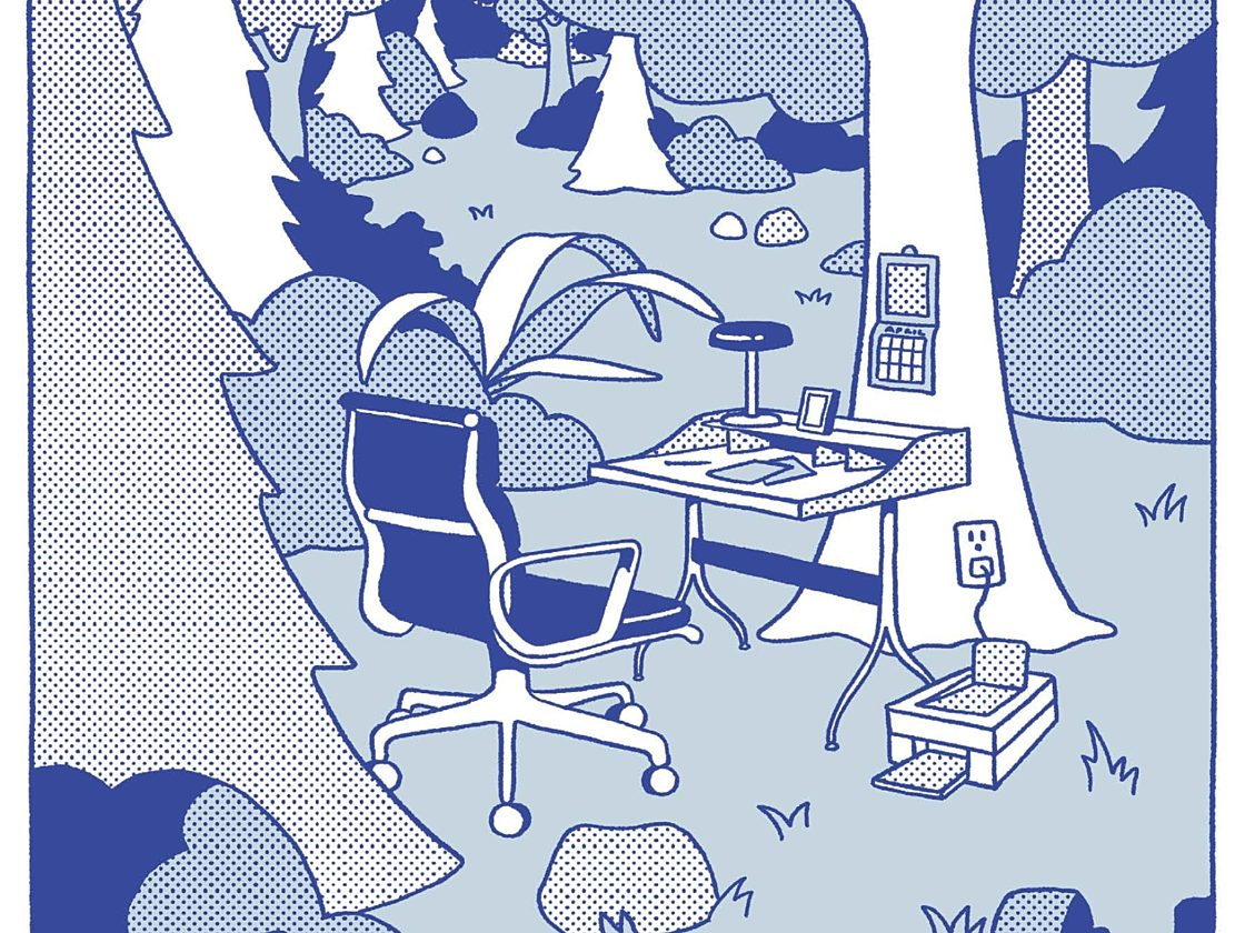 A cartoon of an Eames Management task chair in front of a Nelson Swag Leg Desk in the middle of a forest surrounded by trees and plants.