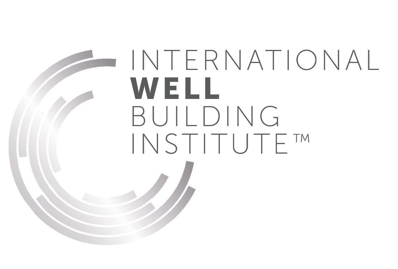 """A silver semi-circle logo next to the words """"International Well Building Institute"""" on a white background."""