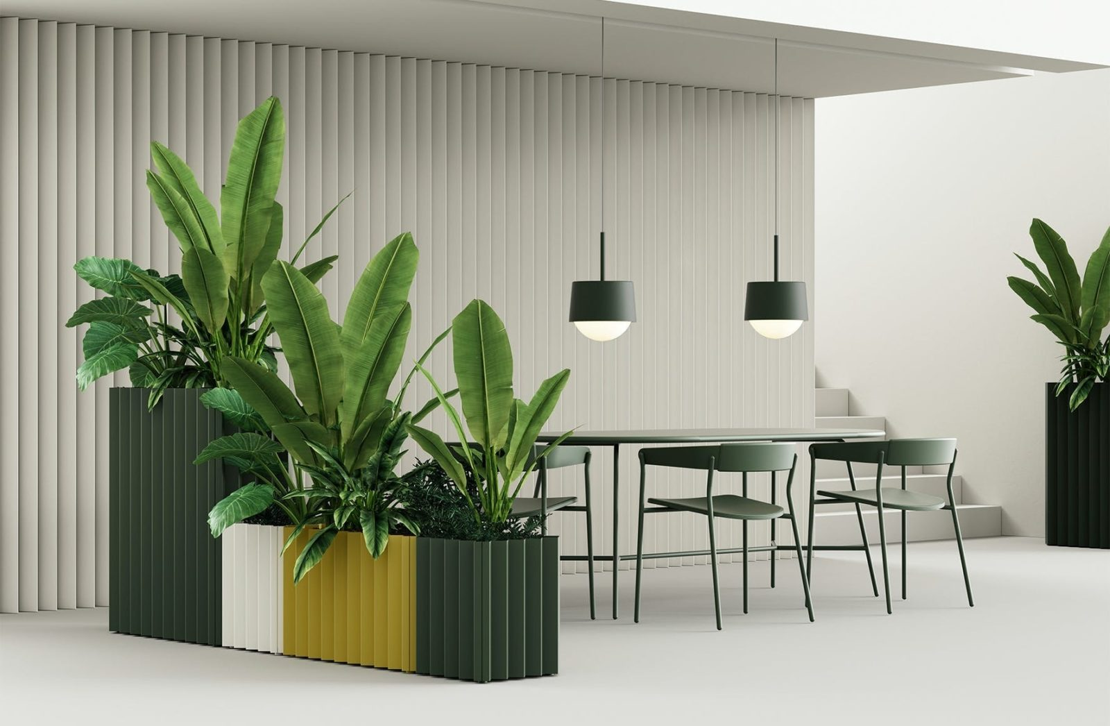 Grey, white, and yellow planters with tall green plants in front of a long table surrounded by chairs.
