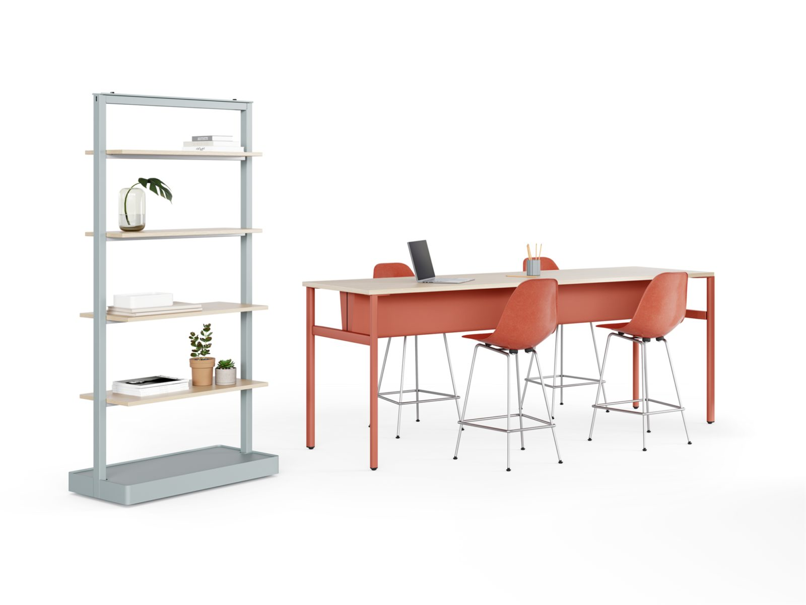 A tall light blue Agile Wall with 4 shelves holding office materials next to a burnt red communal table surrounded by matching red Eames Plastic Stools.