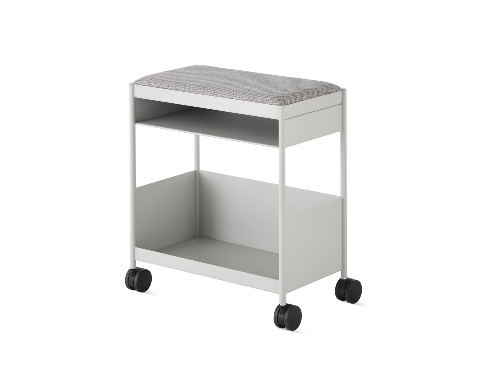 A white mobile individual OE1 Storage Trolley with a small top shelf and large open bottom shelf and a grey fabric cushion top.