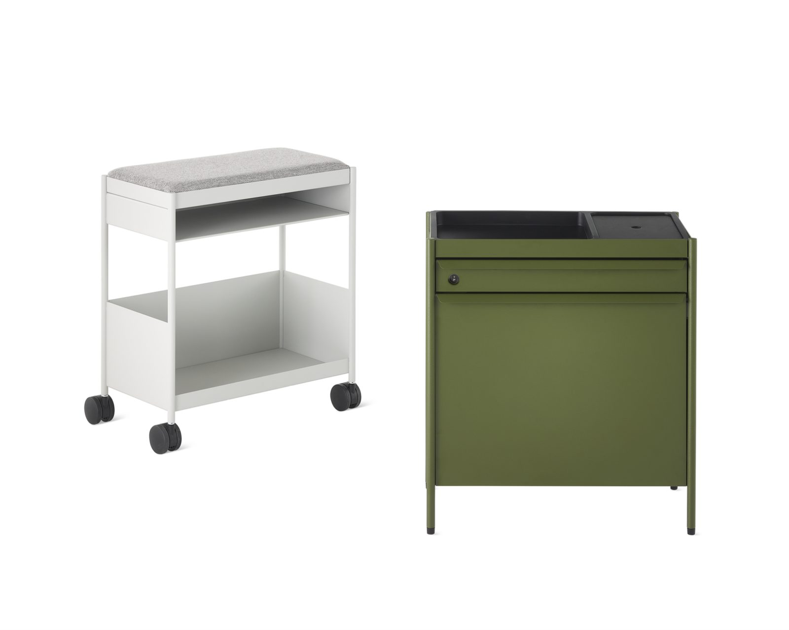 An individual white mobile OE1 storage trolley with open shelves on casters next to a green individual OE1 Storage Trolley with lockable drawers on glides.
