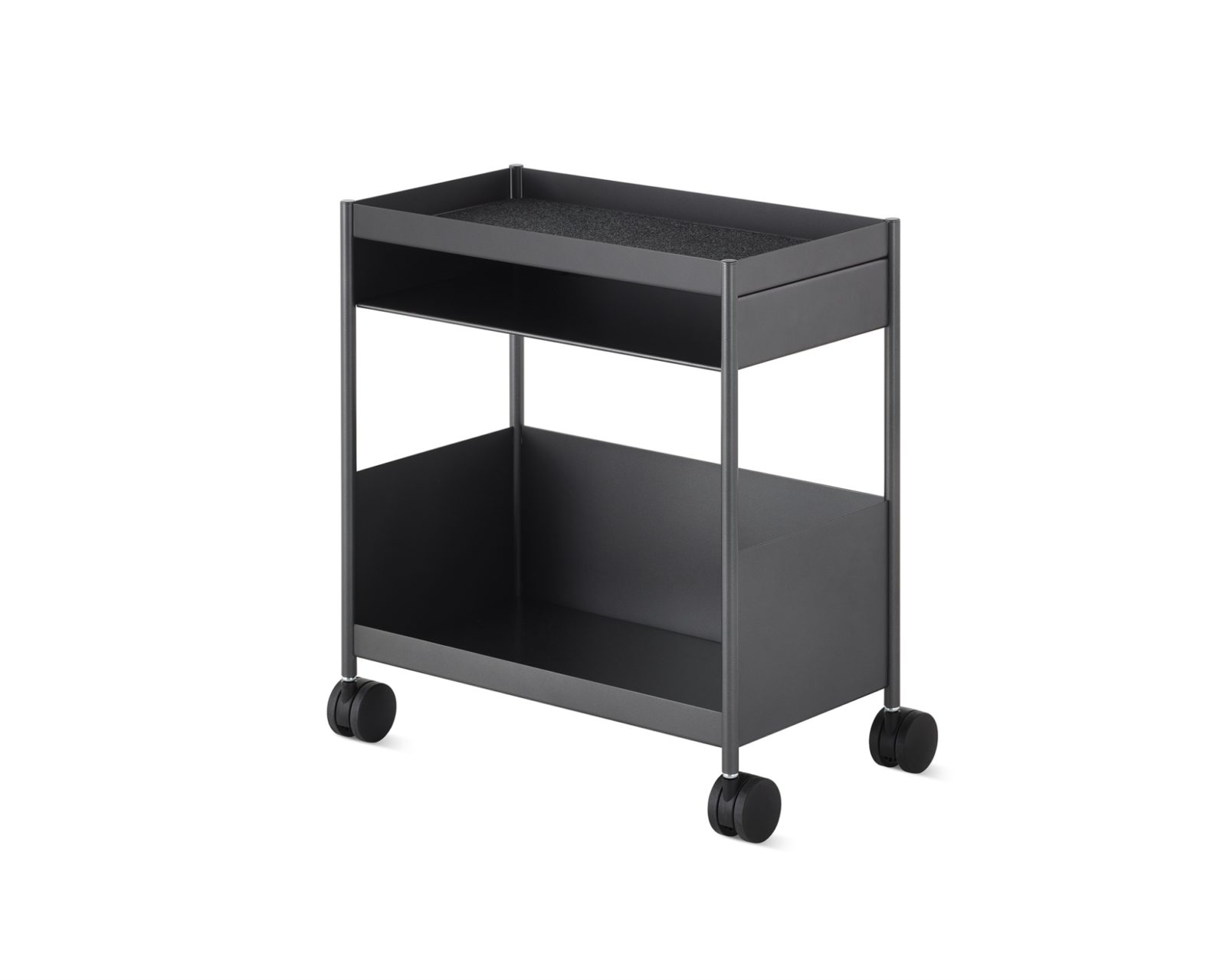 A mobile dark grey individual OE1 Storage Trolley with an open top, small top shelf, and large bottom shelf.
