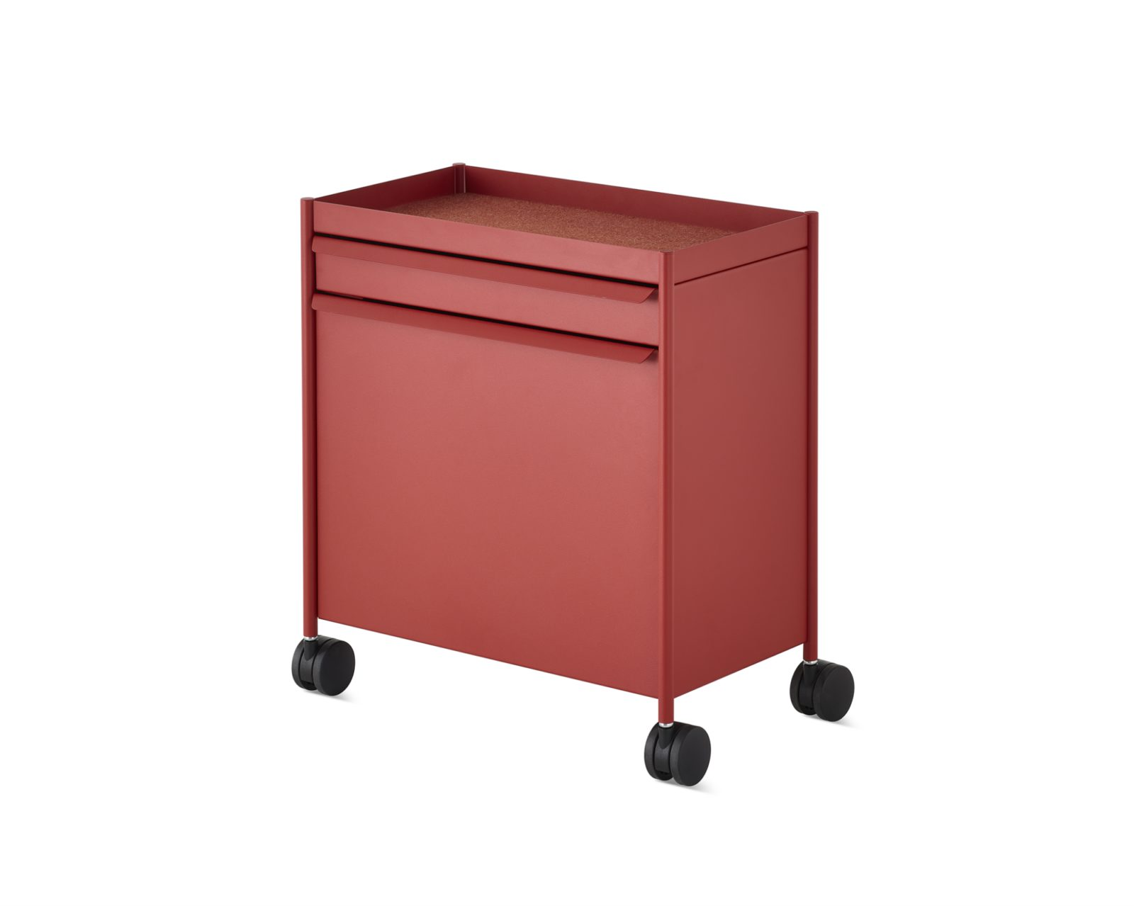 A red mobile OE1 Storage Trolley with an open top, top drawer, and bottom tip-out bin.