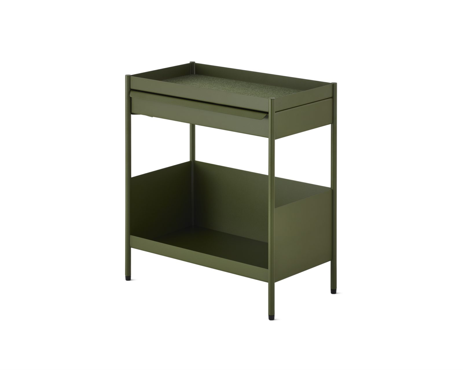 A green individual Storage Trolley with an open top with one small drawer beneath it and a large open shelf on the bottom.