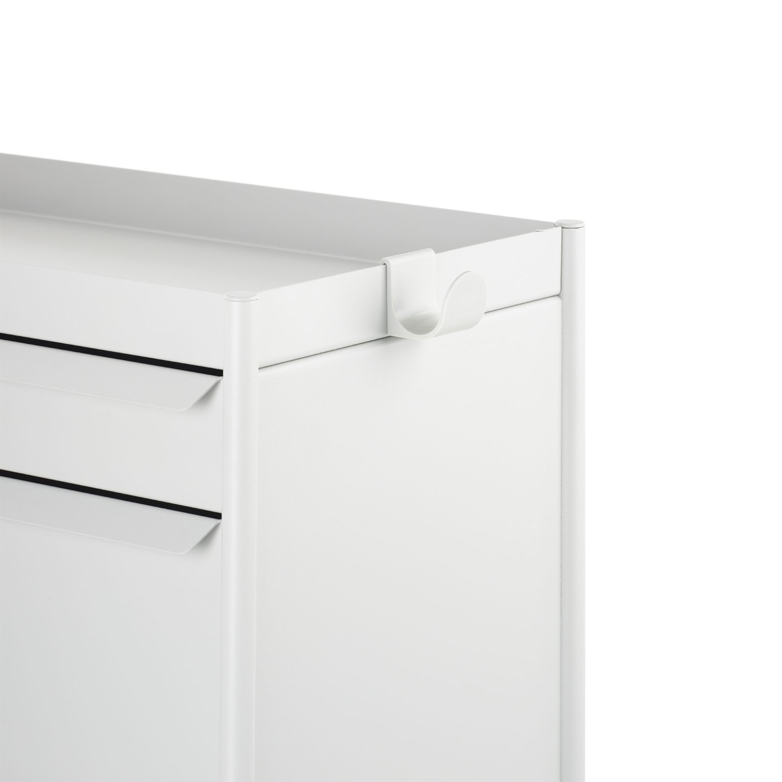 A white metal bag hook attached to the open top of a white individual OE1 Storage Trolley.