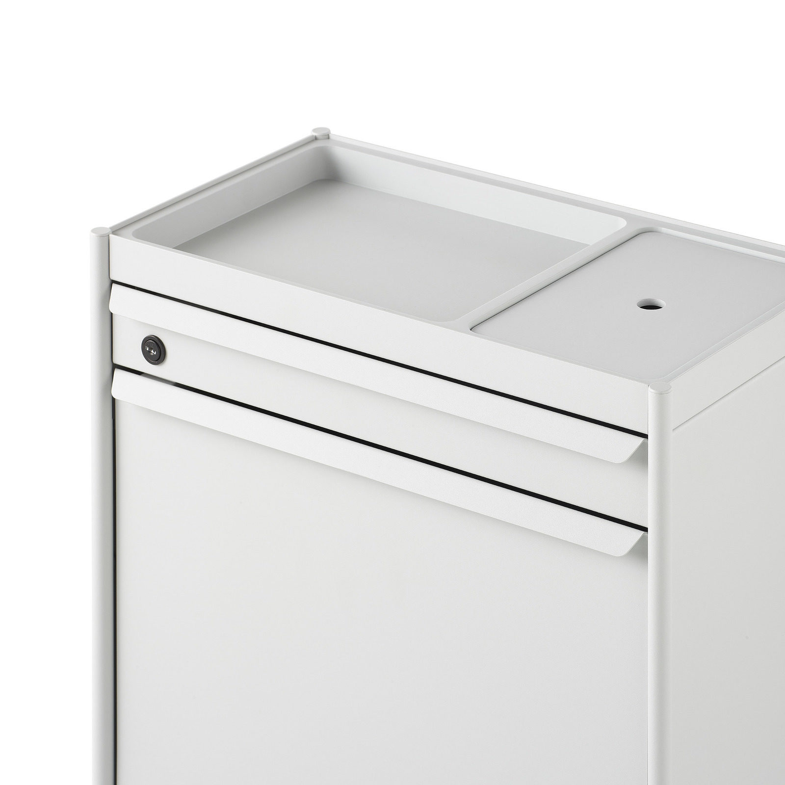 The top of a white individual Storage Trolley with an white organizer top and a lockable drawer and file drawer beneath it.