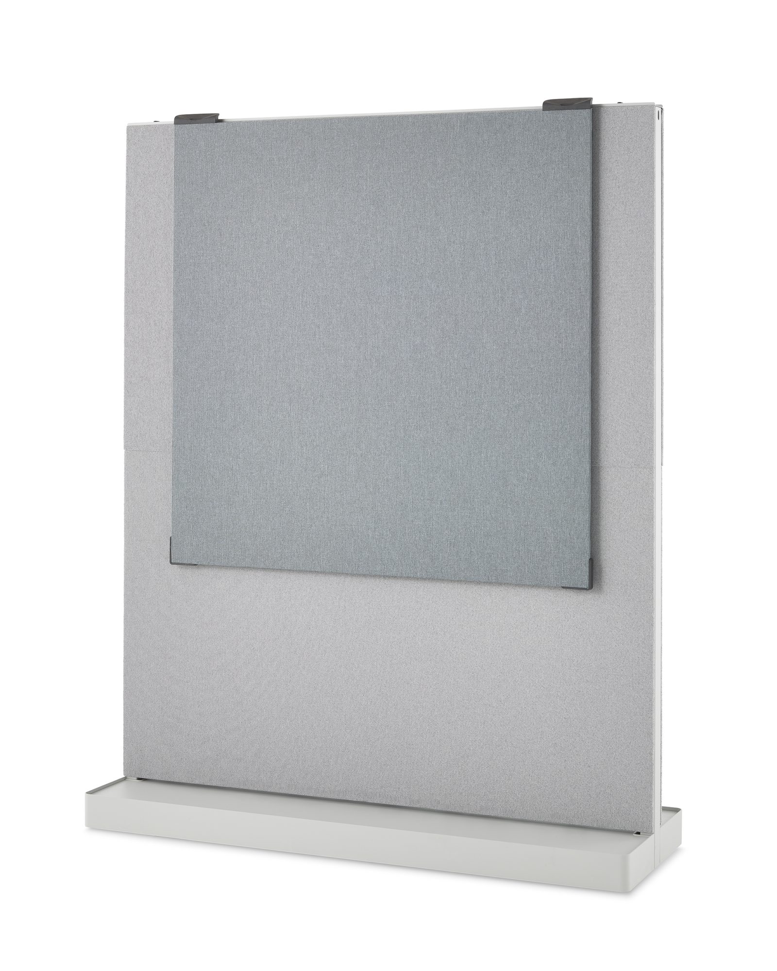 An Agile Wall with one large light grey tackable fabric tile with an Exclave dark grey tackable fabric tile hung from the top of the Agile Wall frame.