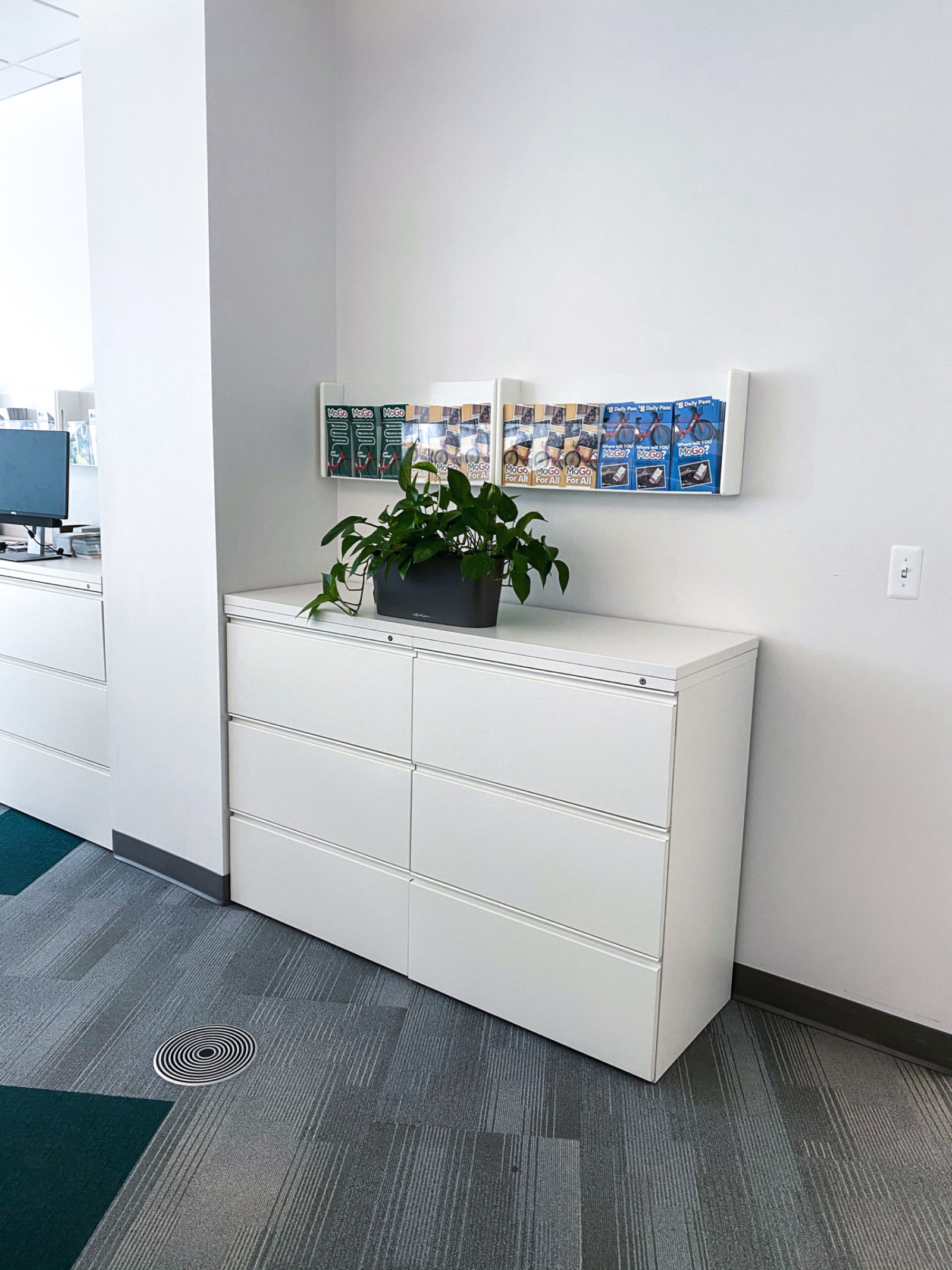 An image of a white file cabinet with a plant on top of it.