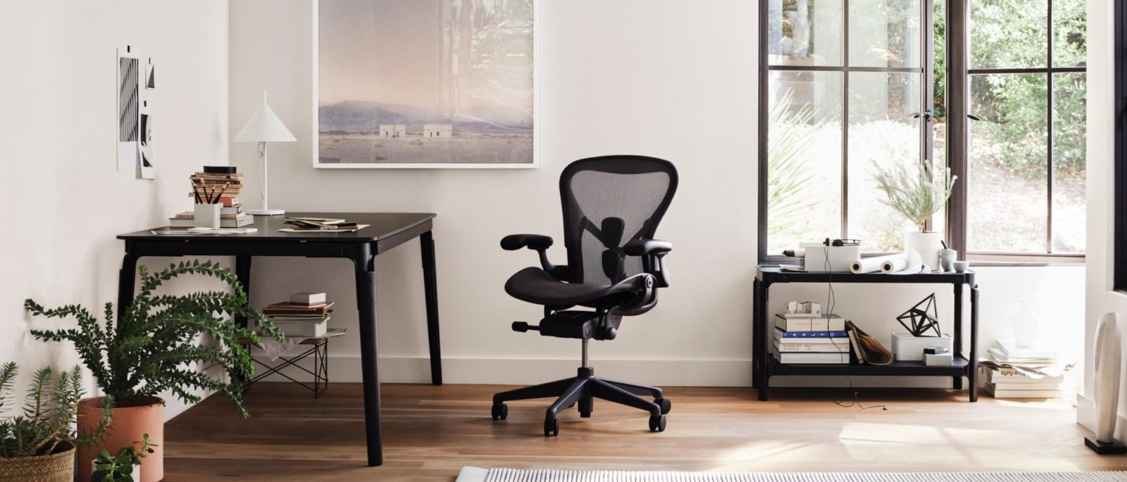 An image of a home office with an Aeron chair.
