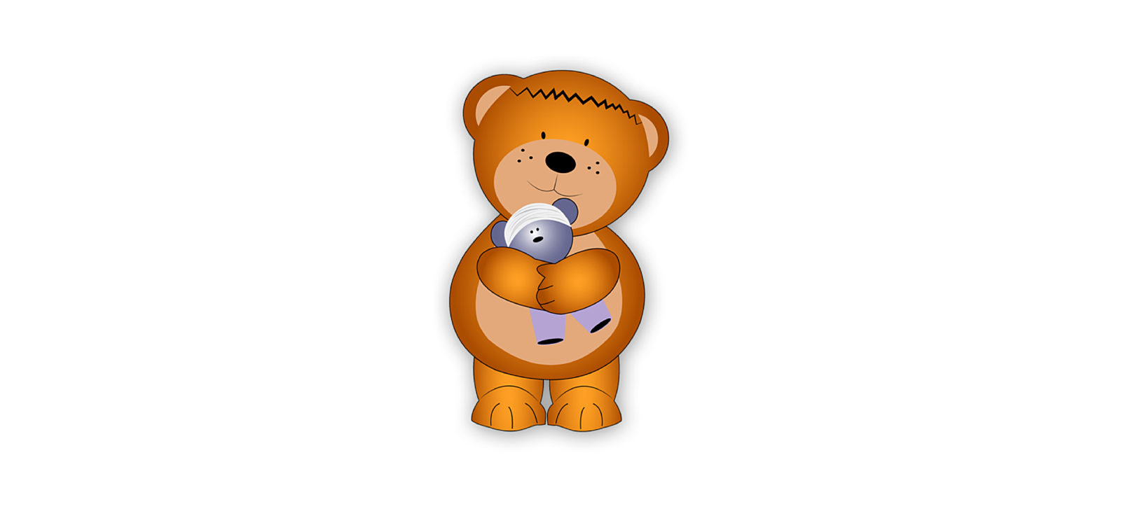 A cartoon of a brown bear with a scar across his forehead holding a blue teddy bear on a white background.