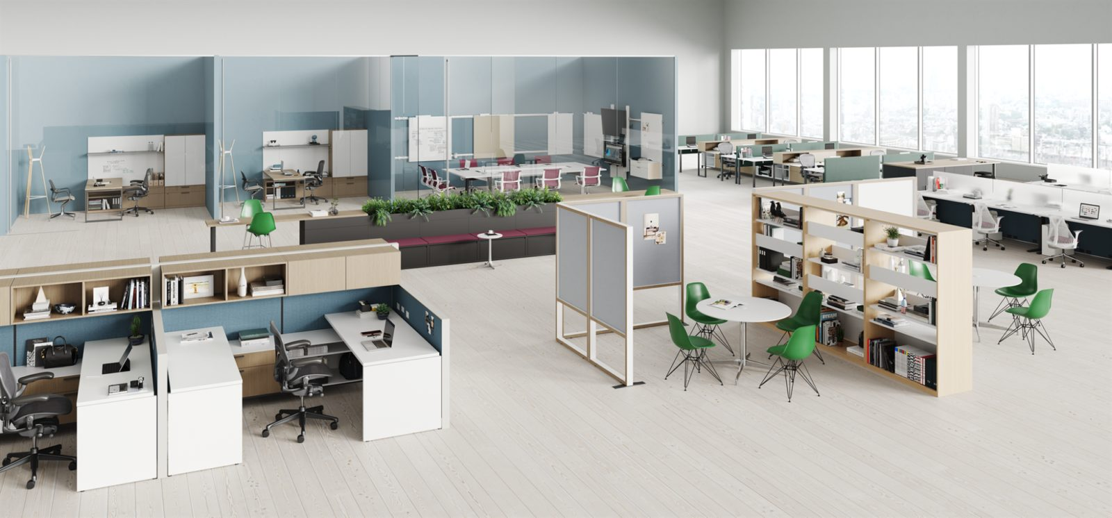 An image of a full floorplate of furniture including different work spaces like workstations, collaboration areas, and lounge areas.