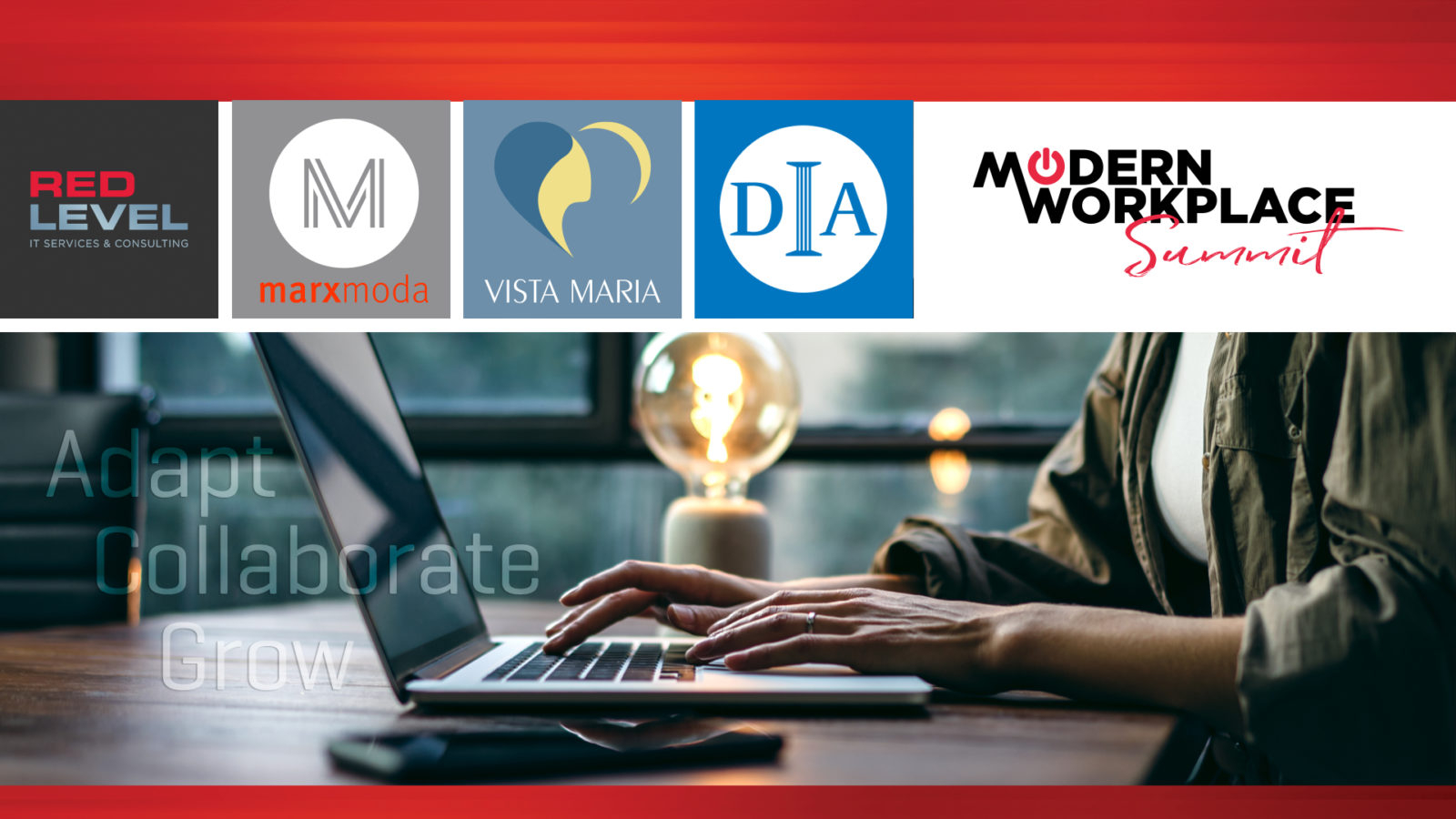 A flyer for the Red Level Modern Workplace Summit with logos from MarxModa, the DIA, and Visa Maria.