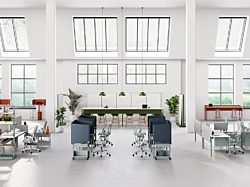 A floorplate with OE1 Workspace desks, workstations, storage, and accessories arranged in different configurations with multiple settings.