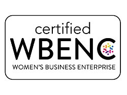 """The official WBENC Seal that reads """"certified WBENC Women's Business Enterprise"""" in black font on a white background."""