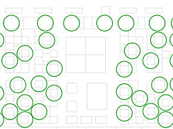 An image from Gensler showing a floorplan marked with 6 foot circles.