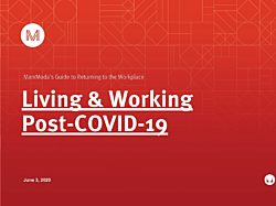 """The front cover of our Return to Work Guide with the MarxModa Logo and the words """"Living and Working Post-COVID-19"""" in white on a red background."""