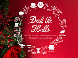 An image of a wreath made out of cartoons of Herman Miller furniture with the words Deck the Halls in the center.