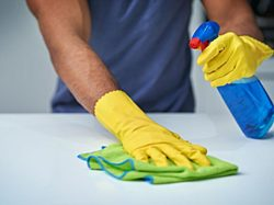 An image of someone with gloves cleaning a surface.