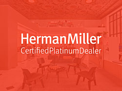 An image of the MarxModa Detroit headquarters with the words Herman Miller Certified Platinum Dealer imposed on top.
