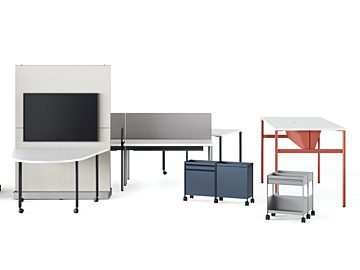 The different products in the OE1 Collection including agile walls, huddle tables, nooks, trollys, and micropacks in bright colors on a white background.