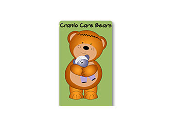 """A cartoon of a brown bear with a scar across his forehead holding a blue teddy bear on a green background with """"Cranio Care Bears"""" written in black."""