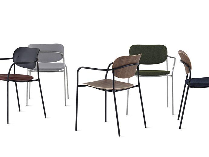 An arrangement of Portrait Chairs made with different upholstery and materials.