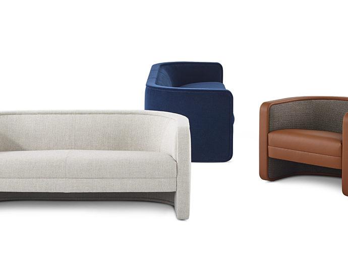 An image of a white u-shaped couch, blue u-shaped couch, and brown leather u-shaped couch.