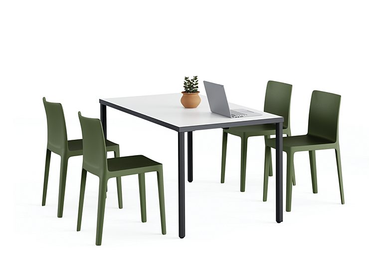 An OE1 Rectangular Table with a navy frame and white top surrounded by sage green chairs.