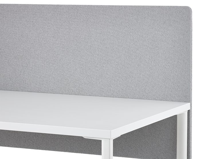 A grey fabric screen attached to the surface of a white OE1 Rectangular Table.