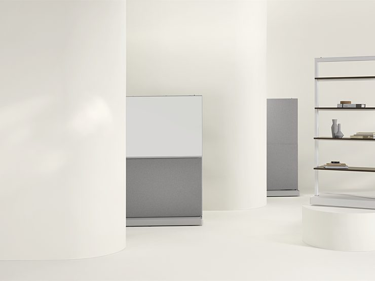Agile walls with different configurations arrayed around a plain white interior.