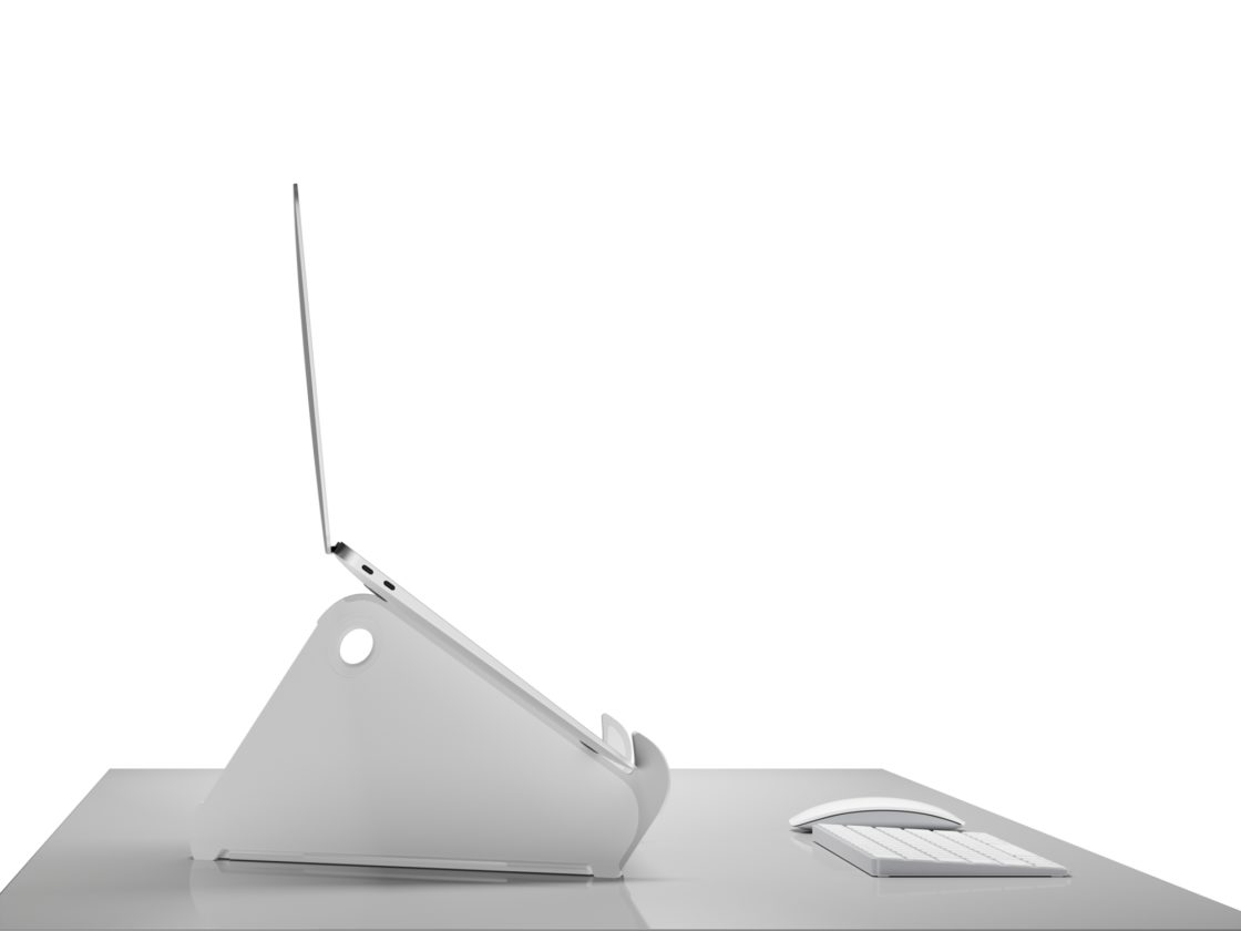 A side view of an Oripura Laptop Stand holding a laptop positioned in front of a keyboard and mose on a white work surface,