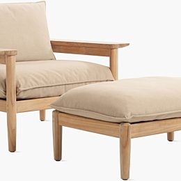 A Terassi Lounge and Ottoman with wood frames and light brown fabric cushions on a white background.