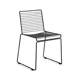 A black metal HAY Hee Dining Chair on a white background.