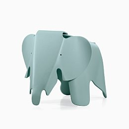 An image of a blue plastic Eames Elephant on a white background.
